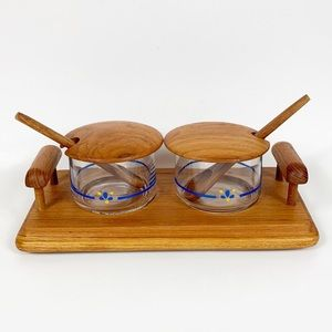 Vintage Teak Goodwood Condiment Relish Set Tray